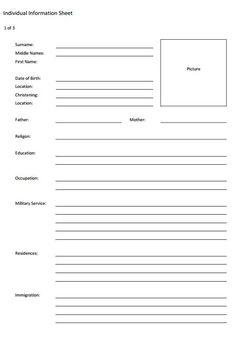 Individual data sheet   Genealogy - searching   Pinterest ...