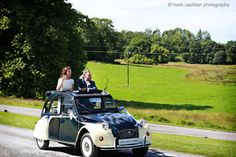 Bride & groom in a Citroen classic french car wedding photography sligo Car Wedding, Bride Groom, Antique Cars, Castle, Wedding Photography, French, Classic, Vintage Cars, Derby