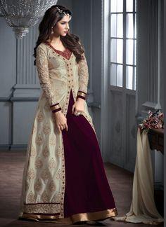 Beige Wholesale Designer Suit In Velvet Fabric