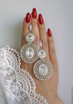 """Купить Свадебные серьги """"White lace"""" - белый, белые серьги, свадебное украшение, свадебные серьги"""