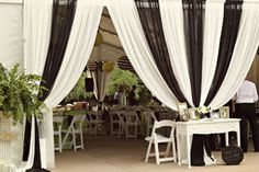 Black and white wedding tent theme