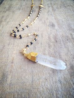 crystal quartz + black spinel rosary necklace: michelleparkerjewels.etsy.com #etsy #shop #mp_jewels #jewelry #necklace #handmade #spinel #blackspinel #crystal #rawquartz #crystalquartz #crystalpoint #vermeil #vermeilnecklace #longnecklace #collarlargo #collar #cristal #joyeria #joyas #hechoamano #bijoux #collier #pendentif #quartz #rosary #rosarynecklace #oro