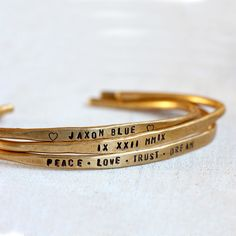 Personalized Silver Cuffs Brass or Silver Custom Bracelets - praxis jewelry