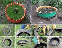 tyre planter idea
