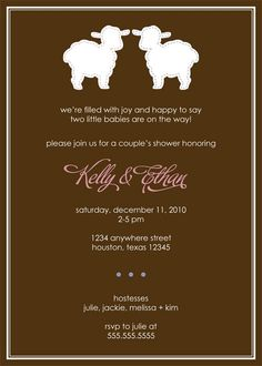 TWINS Baby Shower Invitation  Baby Lambs by erinnesser on Etsy, $12.00