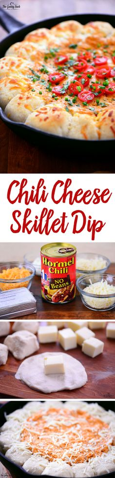 This appetizer recipe for Chili Cheese Skillet Dip with Garlic Cheese Bombs is perfect for serving at parties! It's easy to make and full of cheesy goodness.