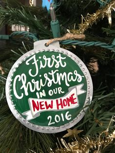 First Christmas in our New Home Ornament. Tin  Ornament. Made to order. Holiday Ornament for a new Home. New Home. Customize colors by PaintedSea on Etsy