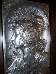 Exquisite Large French Art Nouveau Plaque of The Blonde After Alphonse from beauxartsetantiquies on Ruby Lane