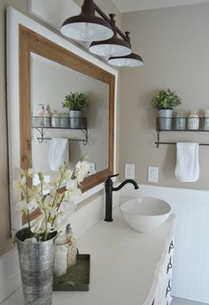 Farmhouse Bathroom Ideas For Small And Big Space Bathrooms Choosing the kitchen design is contingent upon the kitchen layout. Purchasing bathroom furniture is an important choice, and you also strive to get ha. Half Bathroom Decor, Rustic Bathroom Decor, Modern Farmhouse Bathroom, Farmhouse Kitchen Decor, Bathroom Styling, Bathroom Ideas, Bathroom Vanities, Bathroom Furniture, Small Bathroom
