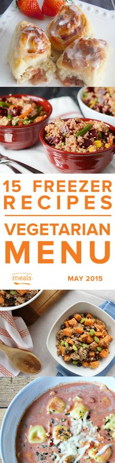Vegetarian May 2015 | Once a Month Meals | Freezer Cooking | Freezer Meals | Custom Menus | Menu Planning #vegetarian #recipes #food #healthy #recipe