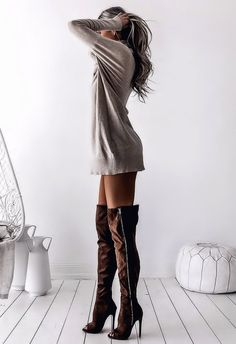Sweater dress and over the knee boots for seductive style. Sexy Outfits, Sexy Dresses, Fashion Outfits, Womens Fashion, Kirsty Fleming, Grey Knit Dress, Jumper Dress, Sexy Boots, Thigh High Boots