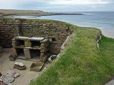 Neolithic house interior at Skara Brae, Orkney, Scotland.