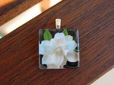 Gardenia on Black Glass Tile Pendant