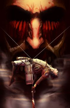 """Attack on Titan ~~ Please note: On June 21, 2014, I succumbed. I watched the first two episodes of """"Shingeki no Kyojin"""" if for no reason other than to be able to appreciate the fanart. Now I am hooked. Oh, ye gods of anime... WHAT HAVE I DONE?! :: [ Attack on Titan by *oneoftwo on deviantART ]"""