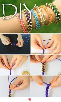 Making bracelets with washers and ribbon