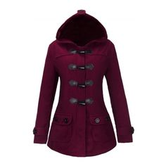 Women's Winter Toggle Front Hooded Coat With Pockets (€26) ❤ liked on Polyvore featuring outerwear, coats, pocket coat, hooded coat, toggle button coat, long sleeve coat and purple coat