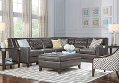 Reina Gray Leather 5 Pc Sectional Living Room  . $1,888.00.  Find affordable Leather Living Rooms for your home that will complement the rest of your furniture. #iSofa #roomstogo