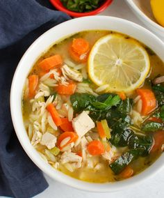 Lemon Chicken Orzo Soup A light, lemony chicken soup with small orzo pasta, vegetables and tender ch Lemon Chicken Orzo Soup, Chicken Soup, Chicken Recipes, Lemon Orzo, Healthy Soup Recipes, Bean Recipes, Vegetarian Recipes, Vegetarian Breakfast, Delicious Recipes