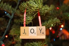 Joy Scrabble Ornaments by HidingPlaceBoutique on Etsy