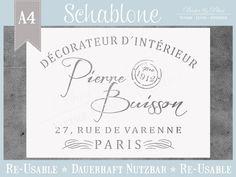 """Schablone """"DECORATEUR"""" * Vintage Chic von Basket & Pillow auf DaWanda.com"""