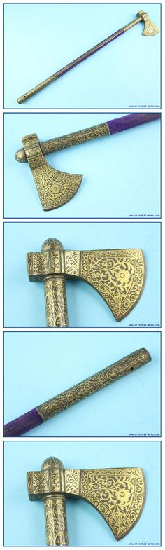 Indo-Persian tabar (axe), it looks very much like Indian saddle axe, yet the gold decoration and the haft may suggest a Balkan Ottoman or East European origin. The heavy steel blade is 3 inches wide, finely decorated with gold koftgari work. The haft is 24 inches long covered with faded blue velvet and mounted with steel mounts also decorated en suite with the blade.