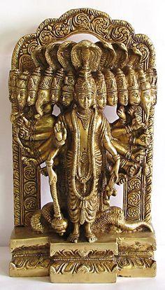 Universal Form (Vishvarupa) of Lord Vishnu - Virat Roop - Brass Sculpture