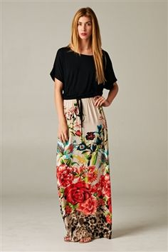 Floral Dolman Maxi Dress from Barcelona-styles.com
