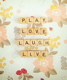 Play Love Laugh Live Photograph. Art Print. Wall Art. Fine Art Photography. Scrabble Photograph. Blue Floral Print. Nursery Art. Size A4