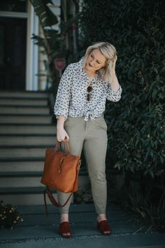Armed and ready for (creative) work. A printed button up, Lou & Grey olive pants, and Jeffrey Campbell mules with a Madewell transport tote scream casual work outfit.   Originally blogged: What to wear to work (when you're a creative). | Non Basic Blonde