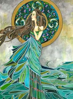 (Tuatha de Danann) Irish Love Goddess, also known as 'Lady of the Lake'. In Irish mythological legend, Aine was the Goddess who created abundance for all that grows upon Earth. Goddess of Prosperity and Protector of Women, Animals & Environment Celtic Goddess, Goddess Art, Goddess Of Love, Moon Goddess, Triple Goddess, Divine Goddess, Golden Goddess, Art Magique, Irish Mythology