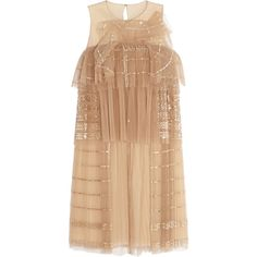 Chloé Sequined tiered tulle dress (£1,259) ❤ liked on Polyvore featuring dresses, vestidos, chloe, tops, sand, beige sequin dress, tulle cocktail dresses, loose dresses, beige cocktail dress and embroidered cocktail dress