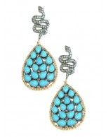 14K Yellow Gold and Oxidized Silver Pave Diamond Snake and Brick Turquoise Teardrop Pierced Earrings