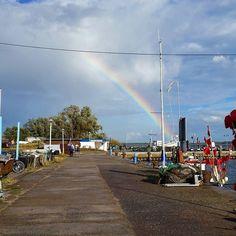 #Regenbogen am Hafen.  #hiddensee #rainbow #sky #nature #beautiful #colours #colourful #nofilter #colour #amazing #rainbows