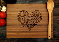 Heart Love Cutting Board (Pictured in Amber), approx. 12 x 16 inches, laser engraved, bamboo wood, Wedding Gift or Anniversary gift