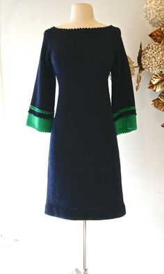 1960s Dress // Vintage 60s Navy Wool Knit Color by xtabayvintage, $125.00