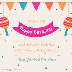 Who doesn& like receiving Birthday Greetings Card on their birthday? Check out our bday Birthday Wishes Name Vector card of specially designed for birthday wishes for friends and family members. Advance Happy Birthday Wishes, Birthday Wishes Greeting Cards, Happy Birthday Wishes Quotes, Birthday Wishes For Friend, Happy Birthday Greetings, Birthday Card Maker, Birthday Card With Name, Happy Birthday Name, Simple Birthday Cards