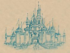 "Sleeping Beauty Castle Sketch, 1955 A detail from an original pencil layout created in 1955 for a full-color newspaper section presenting some of the "" many delights and wonders that are yours to enjoy at Disneyland. Disney Vintage, Retro Disney, Art Disney, Disney Concept Art, Disney Kunst, Disney Love, Disney Magic, Disney Pixar, Disney Artwork"