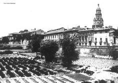 Huertos en el río Segura. Hospital de San Juan de Dios y antigua casa de Convalecencia. Murcia hacia 1870 (Archivo municipal)