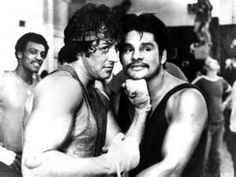 "Sly Stallone ""Rocky"" and former boxing legend Roberto ""Hands of Stone""Duran Rocky Film, Stallone Rocky, Star Trek Posters, Boxing Champions, Rocky Balboa, Combat Sport, Sylvester Stallone, Kickboxing, Muay Thai"