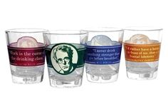$16.95 Literary shot glasses. I think we need these in the WSP office ... Great Drinkers Shot Glass Set