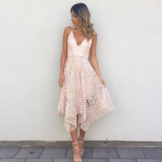 A-Line Asymmetrical V-Neck Pink Lace Bridesmaid Dress