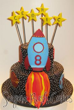 Rocket Cake, all black with white stars