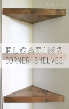 DIY Shelves and Do It Yourself Shelving Ideas – Floating Corner Shelves – Easy S… DIY Shelves and Do It Yourself Shelving Ideas – Floating Corner Shelves – Easy Step by Step Shelf Projects for Bedroom, Bathroom, Closet, Wall, Kitchen… Continue Reading → Step Shelves, Build Shelves, Easy Shelves, Diy Wall Shelves, Small Shelves, Hanging Shelves, Floating Corner Shelves, Diy Corner Shelf, Bathroom Corner Shelf