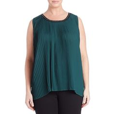 Melissa Mccarthy Seven7 Plus Pleat Front Tank ($21) ❤ liked on Polyvore featuring plus size women's fashion, plus size clothing, plus size tops, botincal green, plus size, chiffon top, plus size sleeveless tops, sleeveless tank tops and womens plus tops