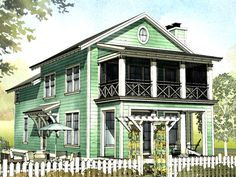 Quaint Cottage with Porches on Both Floors - 970030VC | 2nd Floor Laundry, 2nd Floor Master Suite, Beach, CAD Available, Corner Lot, Cottage, Country, PDF, Vacation | Architectural Designs