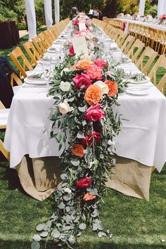 Cascading Wedding Table Runner | Floral Centerpieces | Pink and Orange Wedding