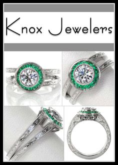 This magnificent engagement ring is exquisitely hand crafted with a platinum, split shank band adorned with mesmerizing hand engraving. The center is a bezel set 0.75 carat round brilliant cut diamond surrounded by a micro pavé emerald halo. The basket of the halo has filigree and bezel set surprise diamonds. Click on pin for more information.