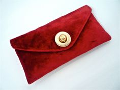 Cute 60s Red Velvet envelope clutch with round metal clasp detail