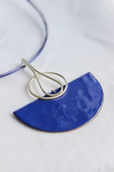 Blue Necklace, Blue Enamel, Sterling silver and copper, Statement Necklace, Deco Necklace via Etsy