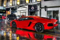 Red Aventador braving the British weather!